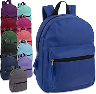 15 Inch Solid Backpacks For Kids With Padded Straps, Wholesale Bulk Case Pack Of 24 (12 Color Assortment)