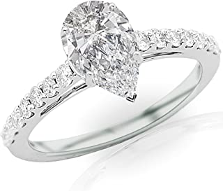 1.25 Ctw Pear Cut Classic Graduating Pave Set 14K White Gold Diamond Engagement Ring (H-I Color SI2-I1 Clarity 0.75 Ct Center)