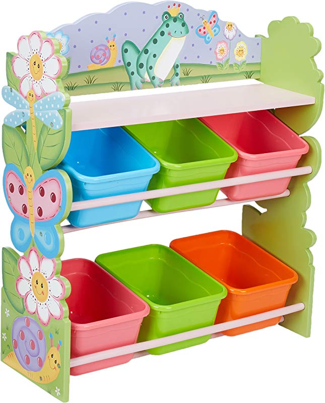 Fantasy Fields Magic Garden Thematic Kids Wooden Toy Organizer With Storage Bins Pink