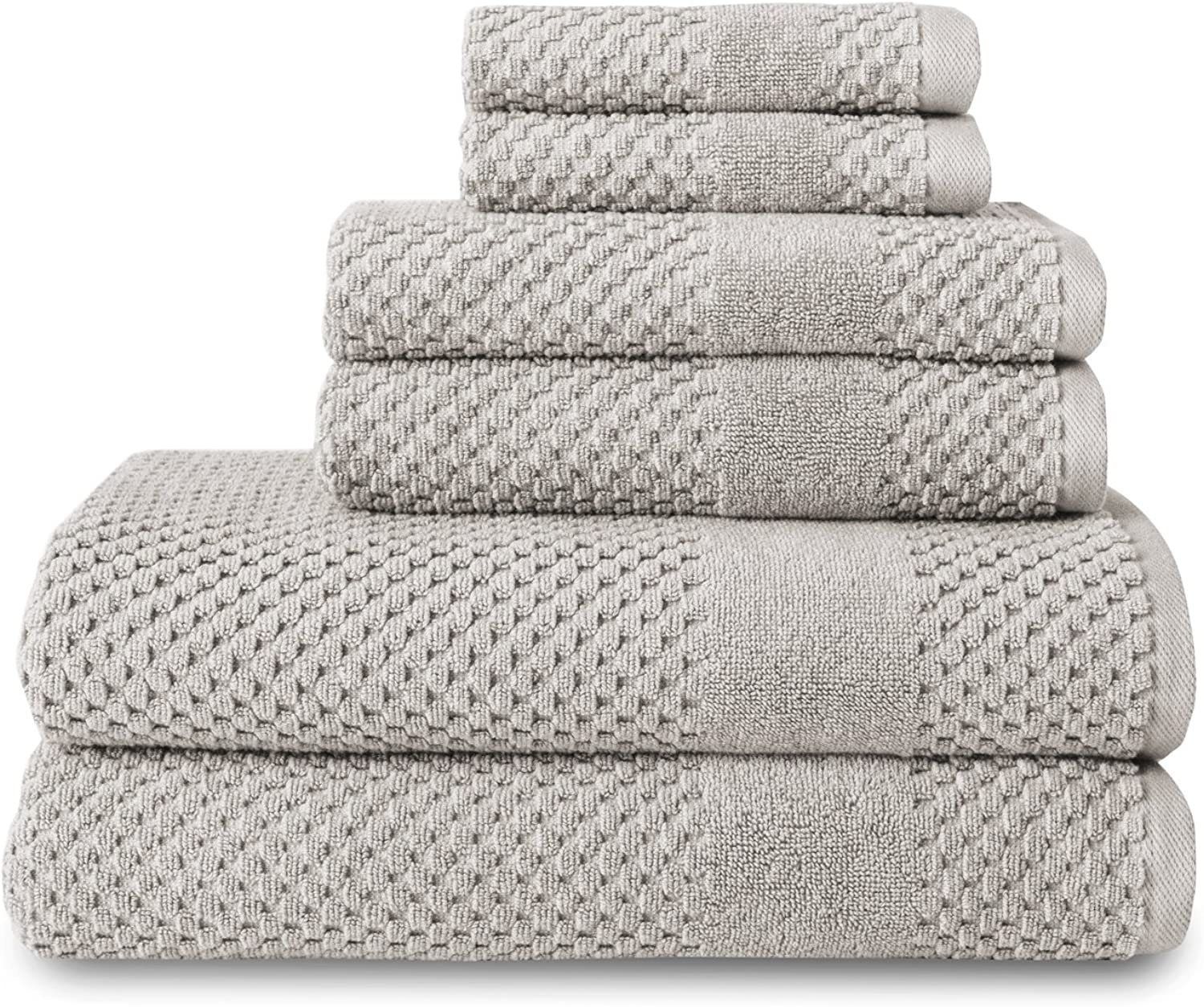Chortex CHHC6SET-SI 6 Piece Honeycomb Towel Set, Silver