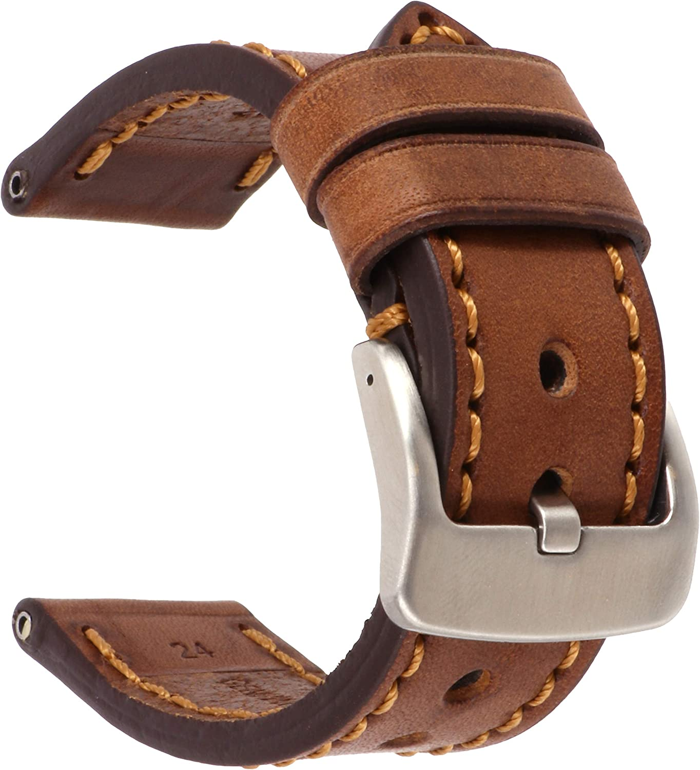 24mm Soft Cow Leather Strap Brown Watch New arrival Washington Mall Band Thick Hand S Copper