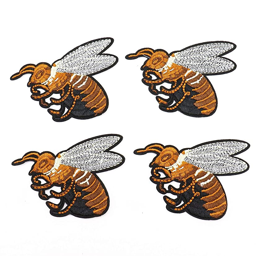 Monrocco 4 pcs Bee Embroidery Patches Wasp Cartoon Patch Iron On Patches Sew On Applique Patch for Clothes DIY Patches Sewing Accessories