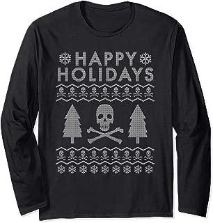 Skull Crossbones Ugly Christmas Sweater Long Sleeve T-Shirt