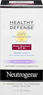 Neutrogena Healthy Defense Daily Moisturizer for Sensitive Skin with SPF 50, Mineral Sunscreen with Zinc Dioxide & Titanium Dioxide, Oil-Free & Fragrance-Free, 1.7 fl. oz (Pack of 3)