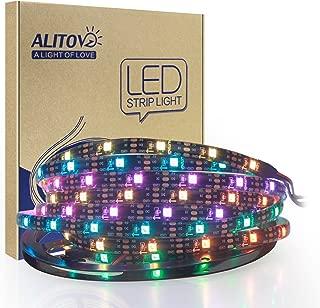 ALITOVE 16.4ft WS2812B Individually Addressable RGB LED Strip Light 5m 150 Pixels Dream Color Programmable Digital LED Flexible Strip Waterproof IP65 Black PCB 5V DC