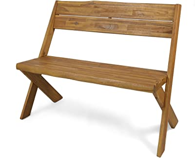 Christopher Knight Home 304410 Irene Outdoor Acacia Wood Bench, Sandblast Teak Finish