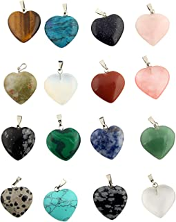 Heart Stone Pendants Healing Chakra Crystal Gemstone Gems Quartz Rondom 30pcs for Necklace Jewelry Making