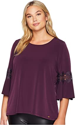Plus Size 3/4 Flare Sleeve Top w/ Lace