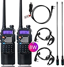 8Watt Ham Radio Baofeng Radio Baofeng Walkie Talkie with Rechargeable 3800mAh Battery UHF VHF Dual Band 2-Way Radio with T...