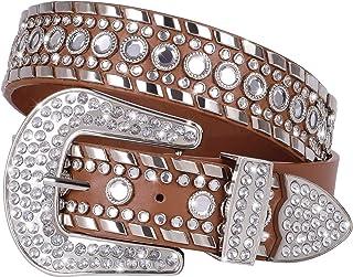 Western Cowgirl Cowboy Lady Leather Rhinestone Crystal Waist Belt Waistband