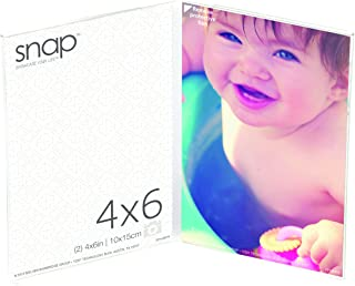 Snap 4x6 Clear Acrylic Vertical Self Standing Double Picture Frame, 4 inches x 6 inches