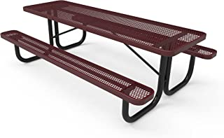 Coated Outdoor Furniture T8-BUR Rectangular Portable Picnic Table, 8 Feet, Burgundy