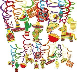 Qpout 30 Cuenta Fiesta Fiesta Colgante Decoraciones Fiesta Mexicana Fiesta Cinco de Mayo Remolino Colgante Streamers Lámina de Aluminio Colgante Decoración de Techo
