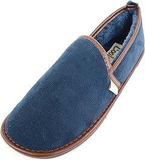 SNUGRUGS Pantoufles confortables épaisses doublées en fausse fourrure avec semelle en caoutchouc pour homme