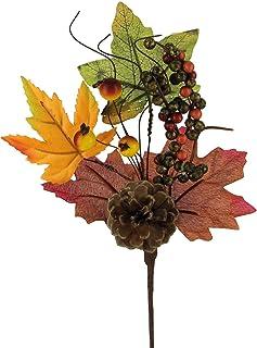 STEFANAZZI 6 unidades Longitud 22 cm Pick Artificial Otoño con bayas y hojas de arce DIY hojas de otoño para decoración ramas para calabazas decorativas