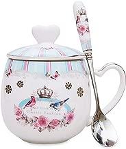 LanHong - 13 oz Queen Coffee Mug Bone Porcelain Tea Cup with Lid and Spoon Cute Animal Christmas Mug Gift for Friend Colleague Dad Mom