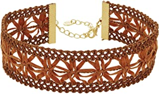 Suede Victorian Lace Choker Necklace for Women - Vegan Faux Leather Choker Necklace - Dainty Sexy Lace Choker with 14k Gold Plated Clasp