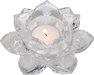 Biedermann & Sons Clear-Glass Lotus Tea-Light Candleholder