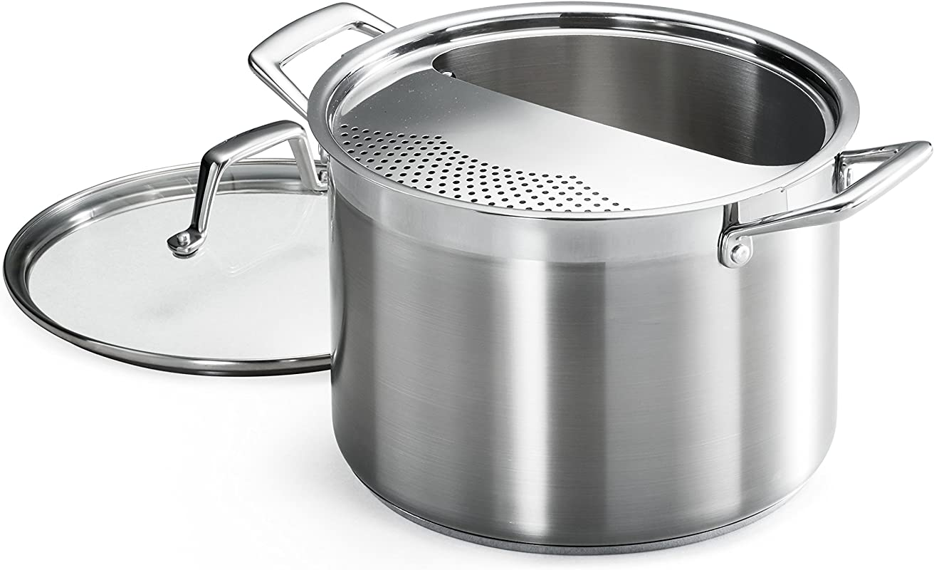 Tramontina 80120 509DS Lock Drain Pasta Cooker Pot With Strainer Lid 18 8 Stainless Steel Induction Ready Impact Bonded 8 Quart