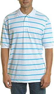YAGO Men's Short Sleeve 3 Buttons Striped Pique Polo Shirt