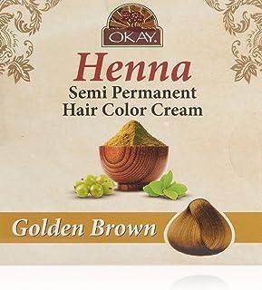 OKAY Henna Semi Permanent Hair Color Cream, Golden Brown, 2 Ounce
