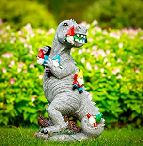 "Himaweek Garden Statue Outdoor Decoration, Dinosaur Eating Gnomes Figurines, Indoor Outdoor Décor Garden Art for Patio Lawn Yard, 13.5"" x 7.6"" Housewarming Garden Gift"