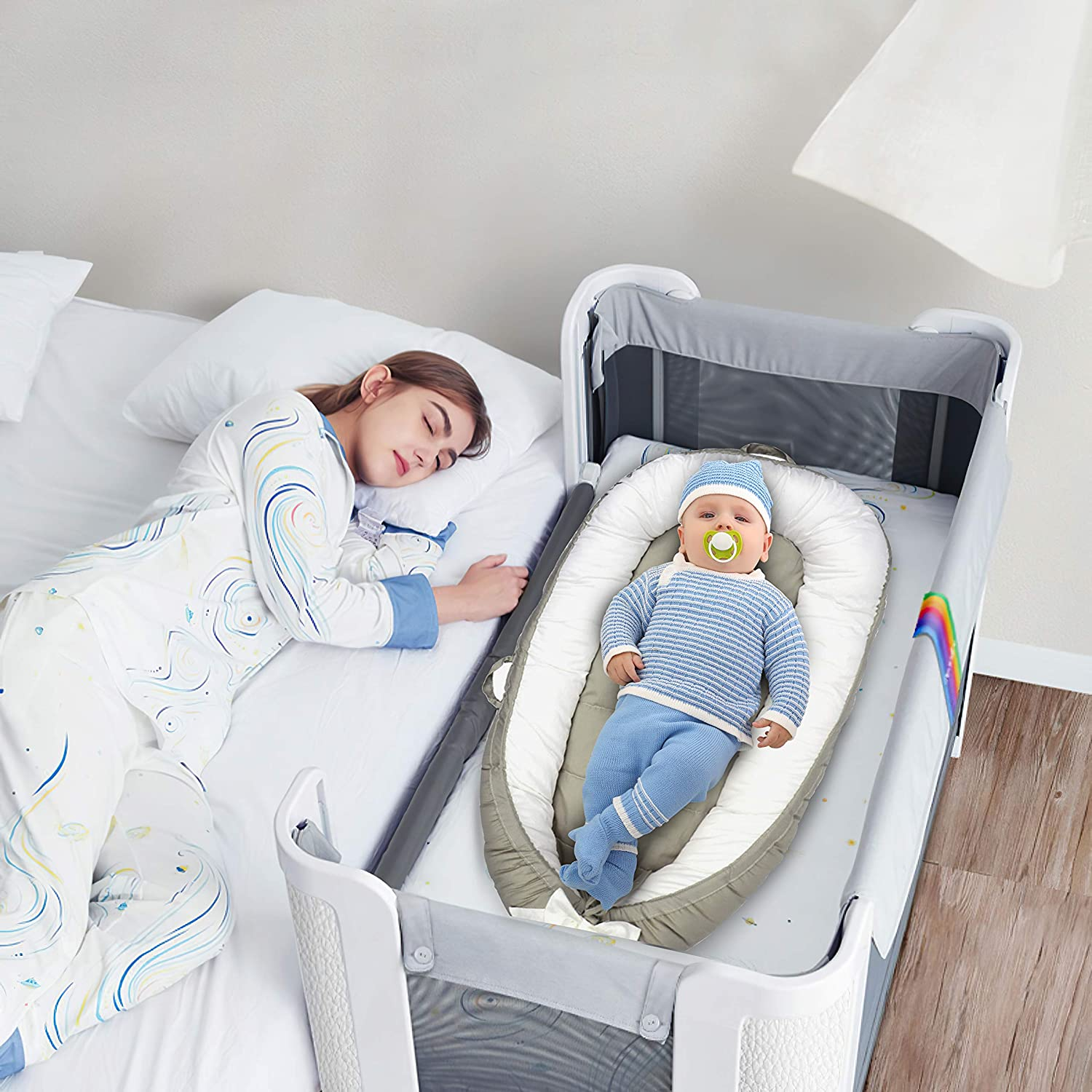 Booulfi Baby Lounger Baby Nest Portable Sleeper Newborn Lounger,Portable Ultra Soft Breathable Newborn Lounger Crib Perfect for Co-Sleeping and Traveling Great as Newborn Shower Gift,2 Covers