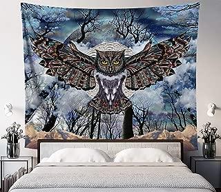 Lucid Eye Studios Moon Owl Forest Tapestry- Blue Mandala Wall Tapestry- Dark Animal Wall Hanging- Mountain Wall Art- Premium Dorm Decor