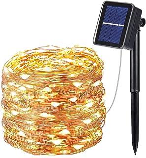 comprar comparacion OxyLED Guirnalda Luces Exterior Solar,10 Metros 100 LED Blanco Cálido Guirnalda de luces solares,8 Modos Luz Decoración pa...