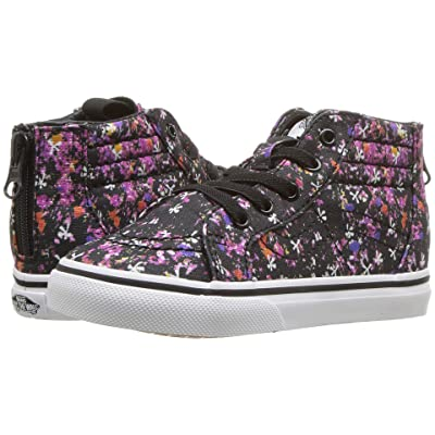 Vans Kids Sk8-Hi Zip (Infant/Toddler) ((Floral Pop) Black/True White) Girls Shoes