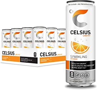 CELSIUS Sparkling Orange Fitness Drink, Zero Sugar, 12oz. Slim Can (Pack of 12)