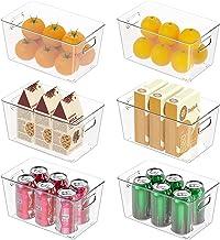 صناديق تنظيم أغراض الثلاجة، 6 علب تخزين الطعام، منظم علب صودا بلاستيك شفاف قابل للتكديس مع مقبض، لتخزين وتنظيم الثلاجة للم...