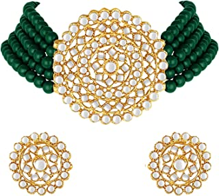 I Jewels 18K Gold Plated Traditional Beaded Choker Set Glided with Kundan Work for Women/Girls