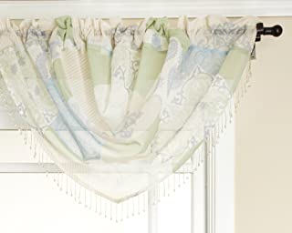 Renaissance Home Fashion Jasmine Tile Print Sheer Waterfall Valance, 47 by 38-Inch, Spring