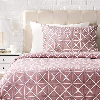 Amazon Basics - Juego de ropa de cama con funda de edredón, de satén, 135 x 200 cm / 50 x 80 cm x 1, Malva cuarzo