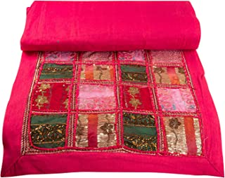 Tribe Azure Fair Trade Pink Table Runner Cotton 18