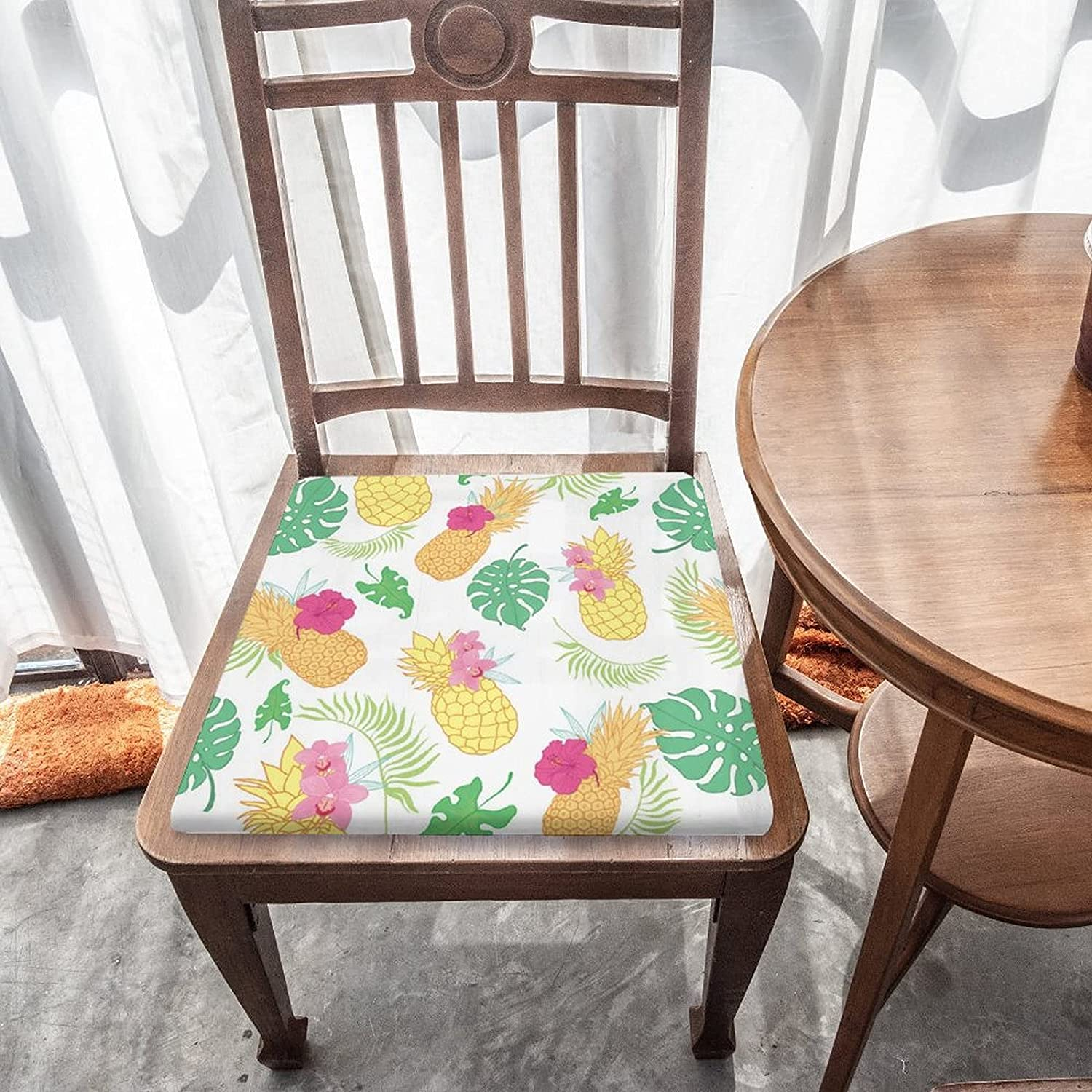 Tropical Pineapples Flowers Outdoor Indoor Seat Cushion Regular store Re Max 51% OFF Chair