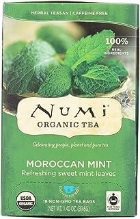 Numi Tea Moroccan Mint - Caffeine Free - 18 Bags - 95%+ Organic -