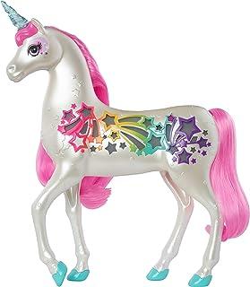 Barbie Dreamtopia Licorne Arc-en-ciel sons et lumières avec crinière et queue rose, fournie avec une brosse, jouet pour en...