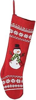 Transpac Imports, Inc. Nordic Knit Snowflake Snowman Applique 24 inch Christmas Stocking Decoration