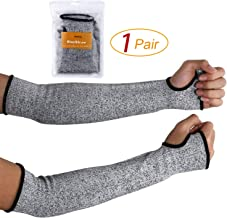 Cut Resistant Sleeves 14-Inch Arm Protection Knit Sleeves - Level 5 Protection, Slash Resistant Sleeves with Thumb Slot Helps Prevent Scrapes, Scratches Skin Irritations UV-Protection, 1 Pair