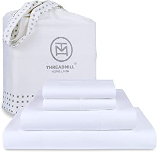 Threadmill Queen Sheet-Set - 800 Thread Count Sateen Weave, 100% Natural Cotton 4 Piece Solid Bedding Set, Extra Long Stap...