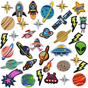 35 PCS Iron on Patches Solar System Appliques Stickers Woohome Embroidered Space Planets Patches Applique Kit for Clothing, Jackets, Backpacks, Jeans