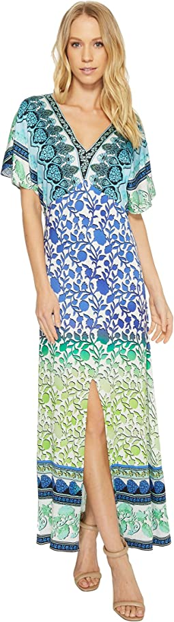 Hale Bob Meeting of the Minds Stretch Satin Woven Maxi Dress