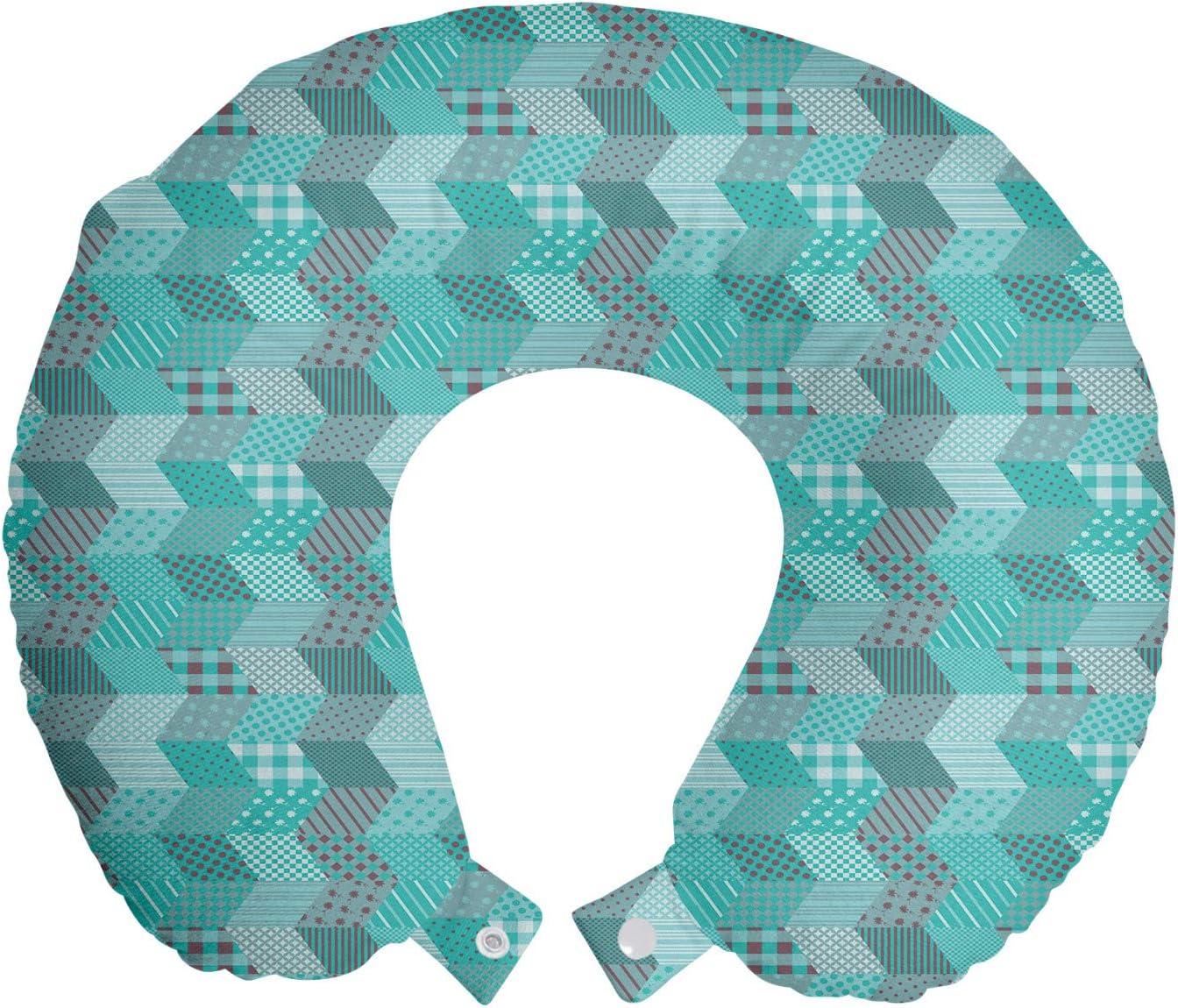 Lunarable Geometric Travel Pillow 2021 autumn and Spring new work winter new Neck Naut Rest Aquamarine