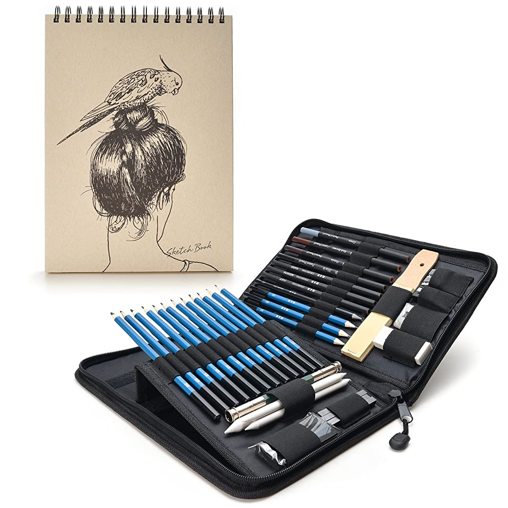 AGPTEK Drawing Kit (41-Piece Set) Including Pencils, Pastel Pencils, Erasers, Knife, Pencil Extender, Sharpener, Sketch Book(60 Sheets) & Carry Case for Teens Kids Adults