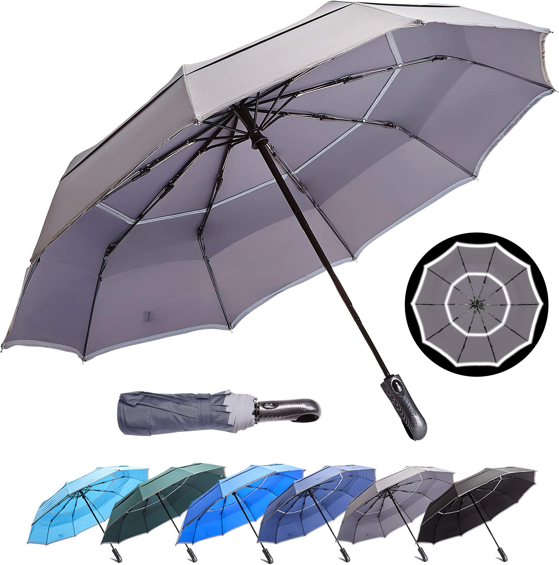 HOSA Auto Open Close Compact Portable Lightweight Automatic Repel Folding Travel Umbrella Ergonomic Handle Double Vented Windproof UV Protection, For Raining Sunny Days Night Time Use, Multiple Colors
