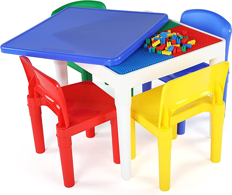 Tot Tutors CT794 2 In 1 Kids Plastic Activity Table And Building Surface With 4 Chairs 17 Height Primary