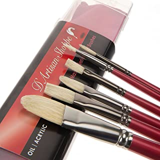 Oil Acrylic Paint Brushes Set. 100% Natural Chungking Hog Hair Bristle in Portable Organizer Plastic Container. 6pc Filbert Flat and Round Paintbrush Gift Kit.