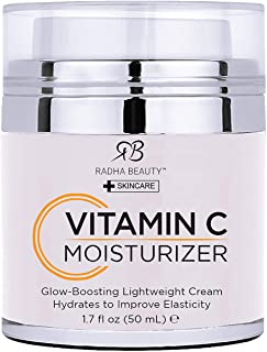 Radha Beauty Glow Boosting Vitamin C Moisturizer, 1.7 fl oz. for Face, Neck, Decollete - Super Moisturizing Facial Lightwe...